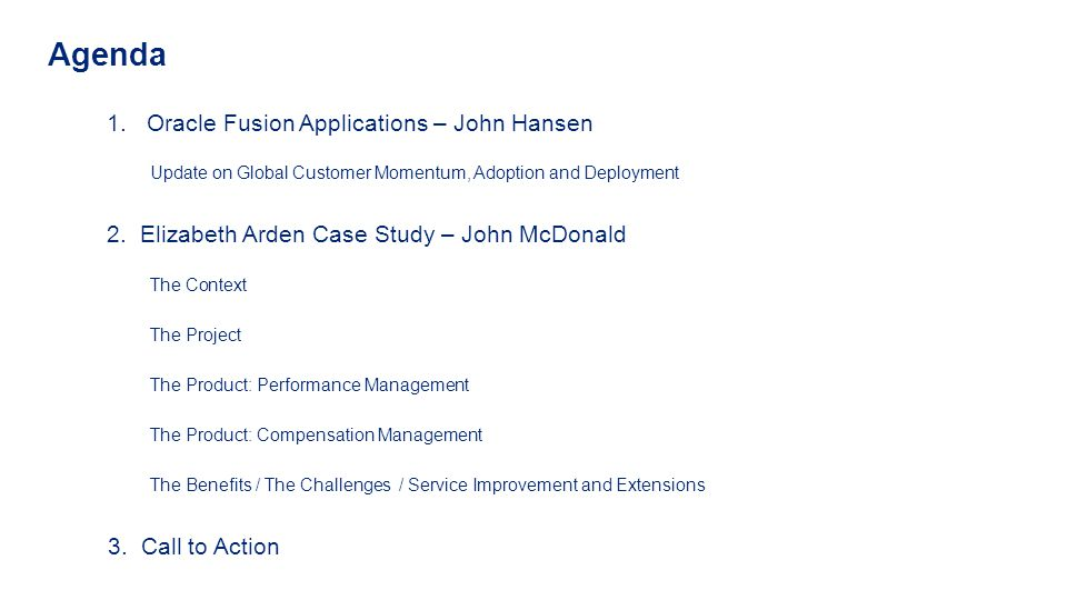 Agenda Oracle Fusion Applications – John Hansen