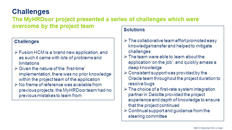Challenges The MyHRDoor project presented a series of challenges which were overcome by the project team