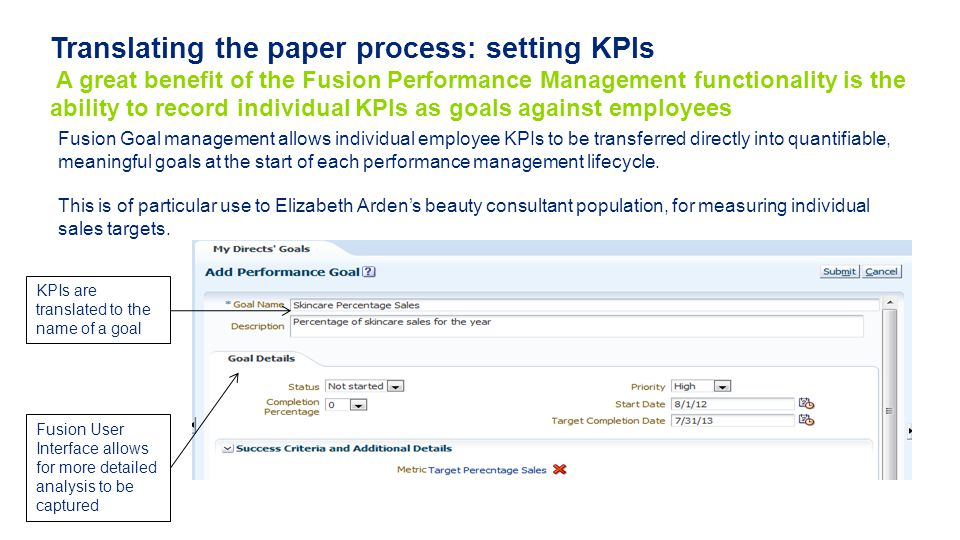 Translating the paper process: setting KPIs A great benefit of the Fusion Performance Management functionality is the ability to record individual KPIs as goals against employees