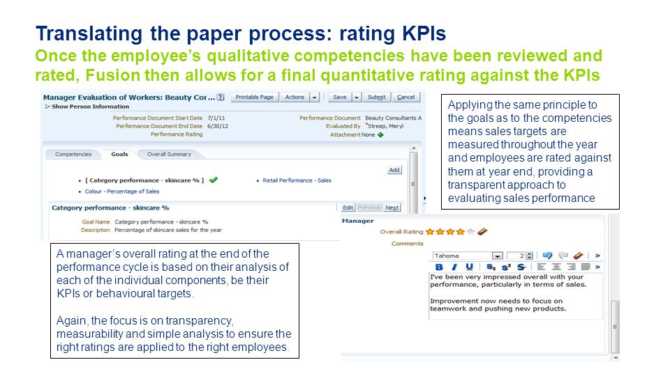 Translating the paper process: rating KPIs Once the employee's qualitative competencies have been reviewed and rated, Fusion then allows for a final quantitative rating against the KPIs