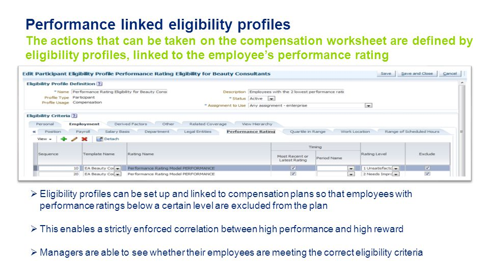 Performance linked eligibility profiles The actions that can be taken on the compensation worksheet are defined by eligibility profiles, linked to the employee's performance rating