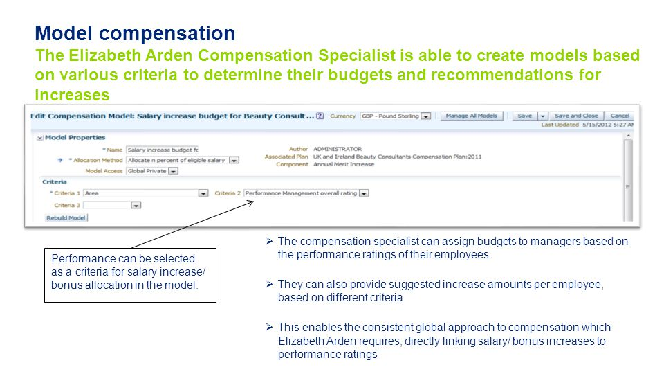 Model compensation The Elizabeth Arden Compensation Specialist is able to create models based on various criteria to determine their budgets and recommendations for increases