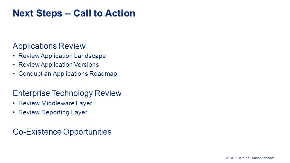 Next Steps – Call to Action
