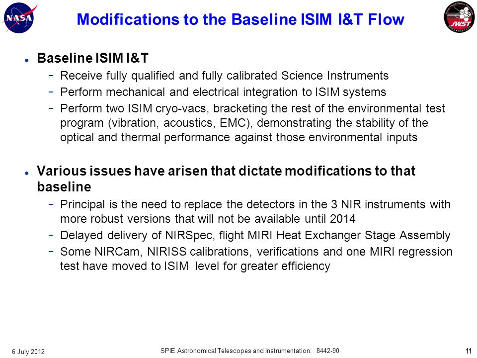 Modifications to the Baseline ISIM I&T Flow
