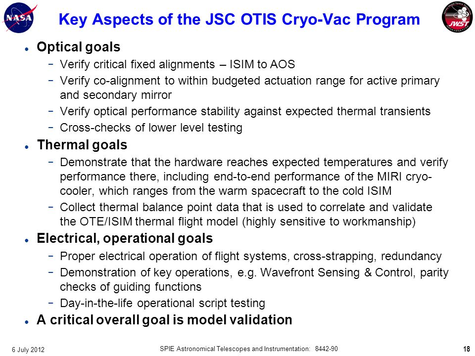 Key Aspects of the JSC OTIS Cryo-Vac Program