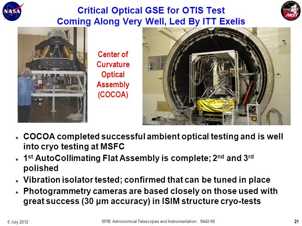 Critical Optical GSE for OTIS Test