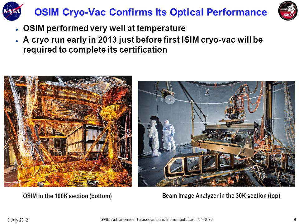 OSIM Cryo-Vac Confirms Its Optical Performance