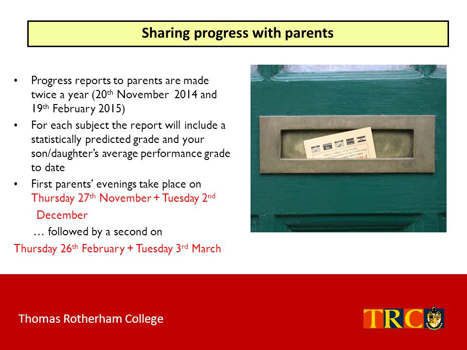 Sharing progress with parents