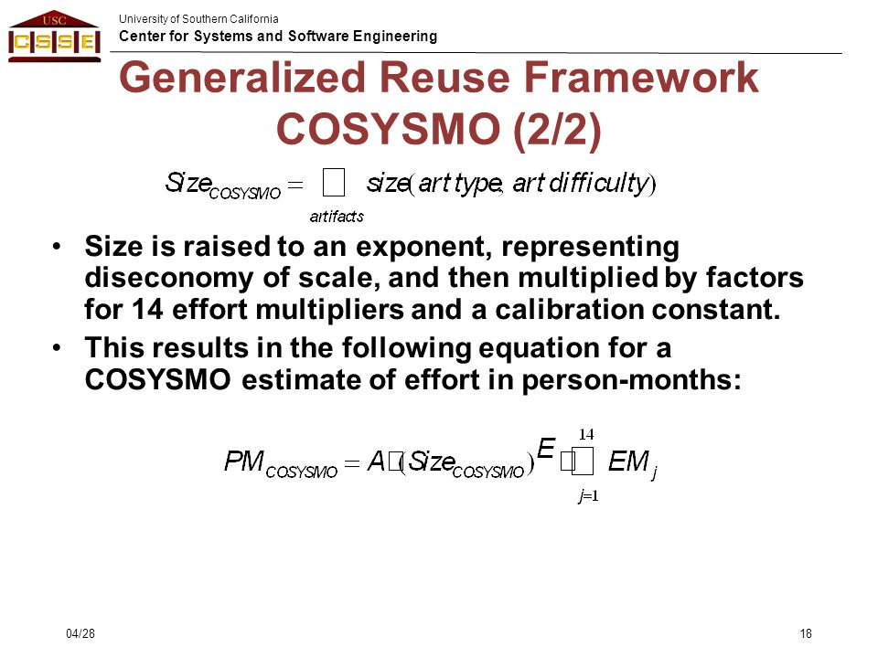 Generalized Reuse Framework COSYSMO (2/2)