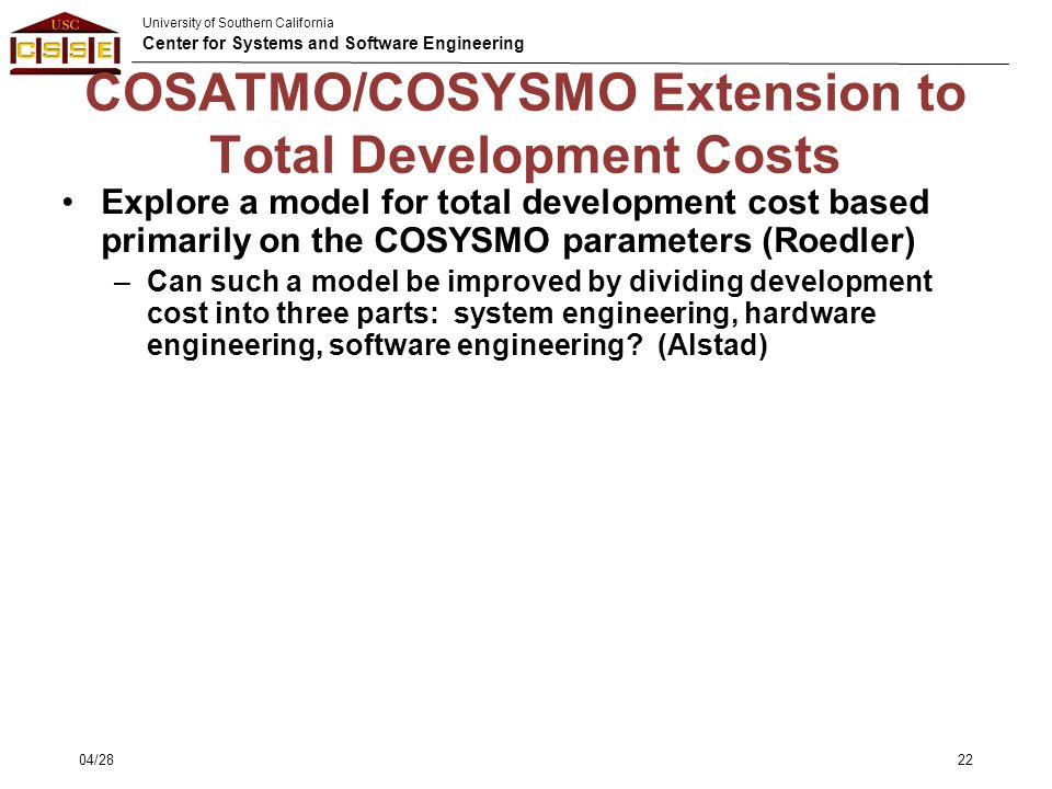 COSATMO/COSYSMO Extension to Total Development Costs
