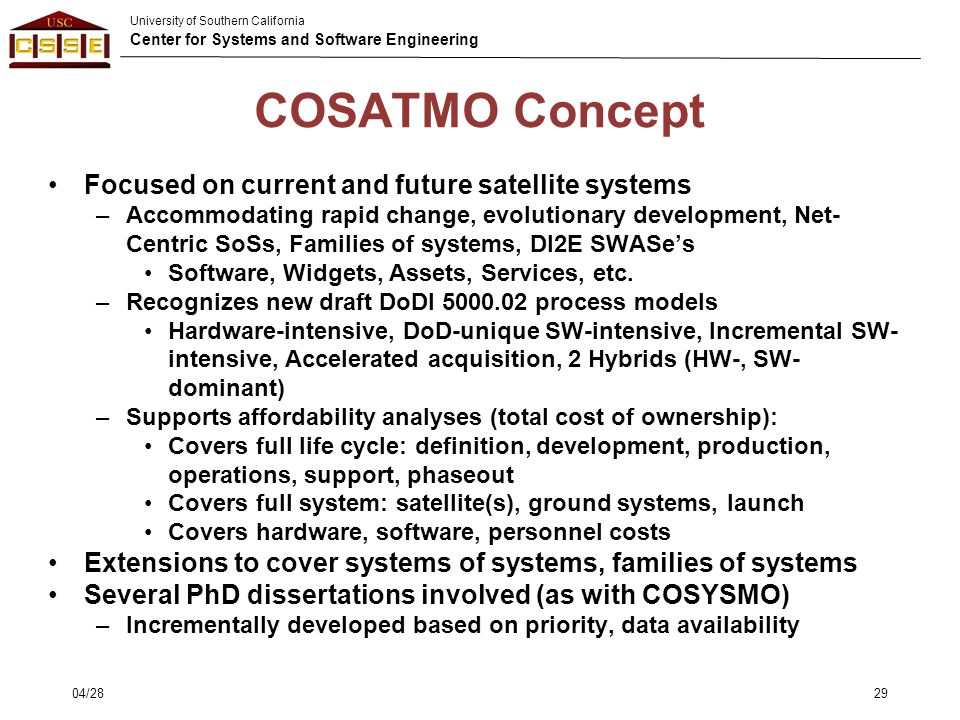 COSATMO Concept Focused on current and future satellite systems
