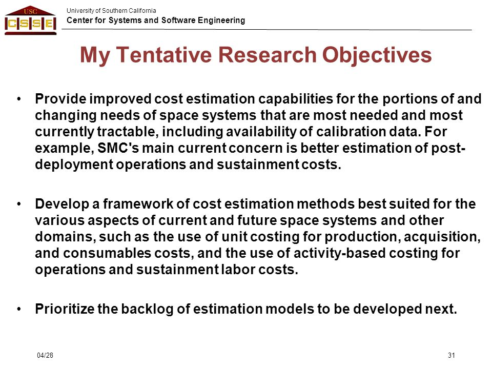 My Tentative Research Objectives