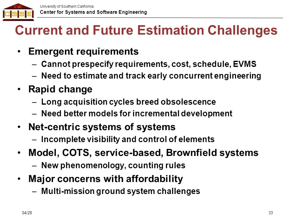Current and Future Estimation Challenges