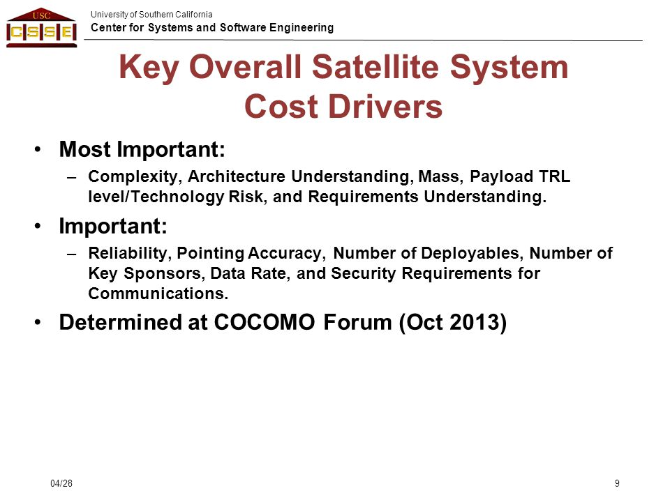 Key Overall Satellite System Cost Drivers