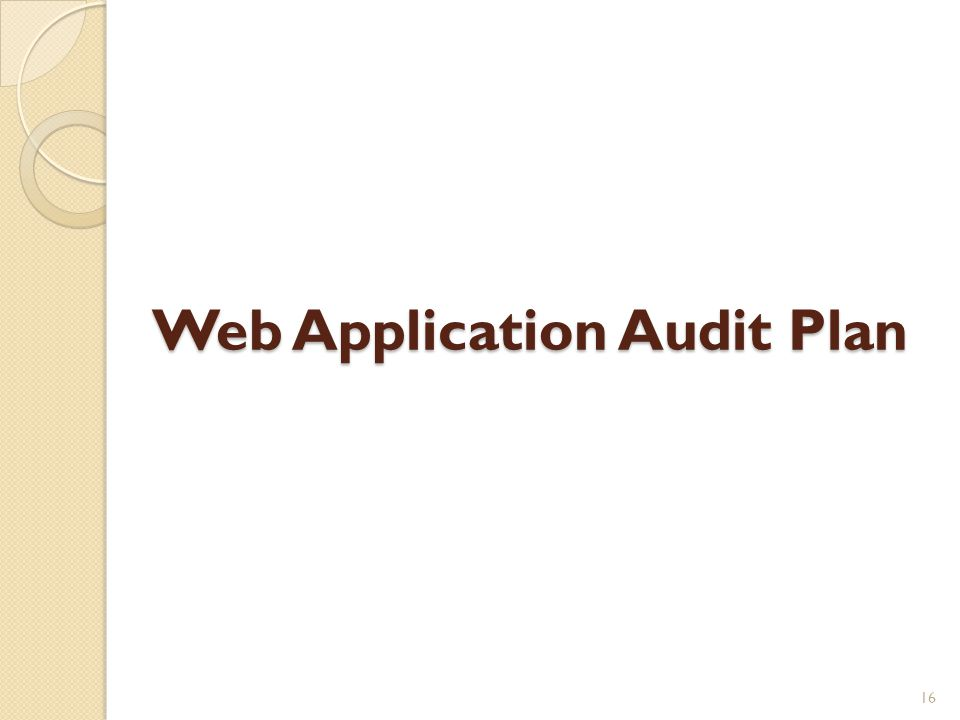 Web Application Audit Plan