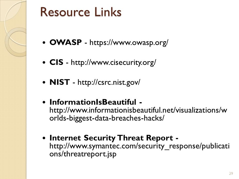 Resource Links OWASP - https://www.owasp.org/
