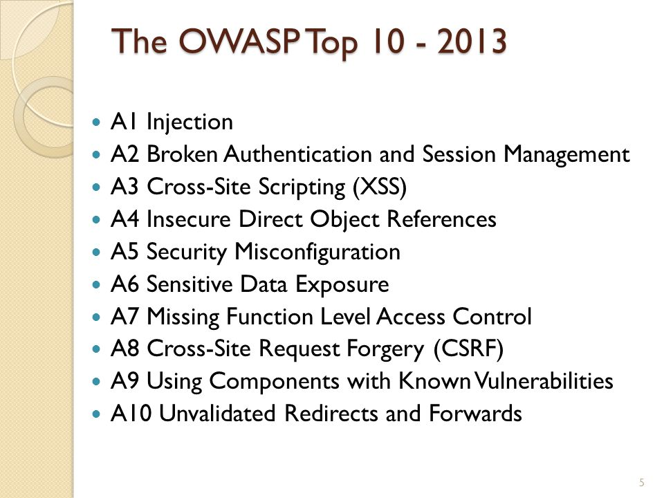 The OWASP Top A1 Injection