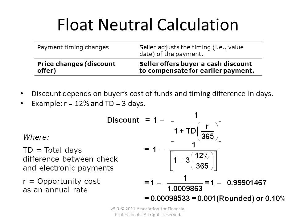 Float Neutral Calculation