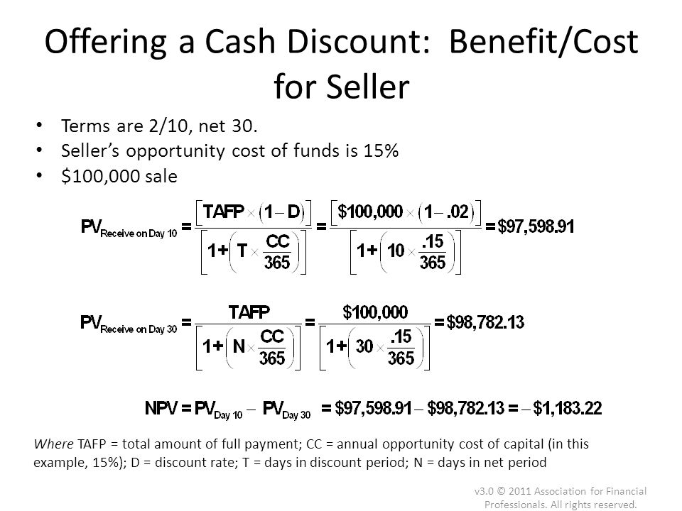 Offering a Cash Discount: Benefit/Cost for Seller