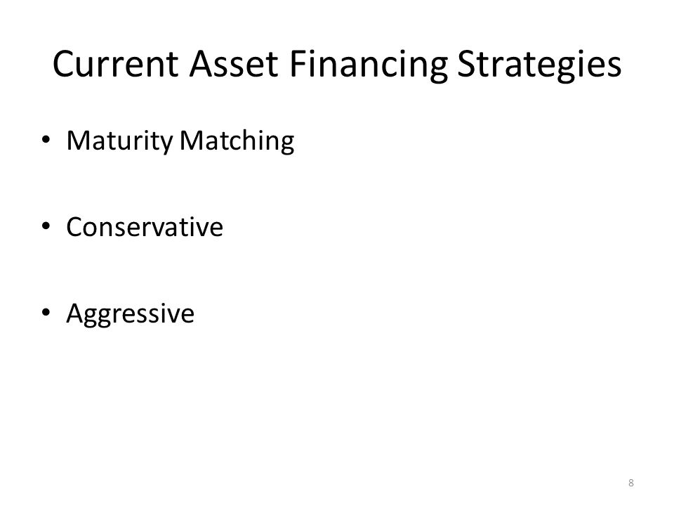 Current Asset Financing Strategies