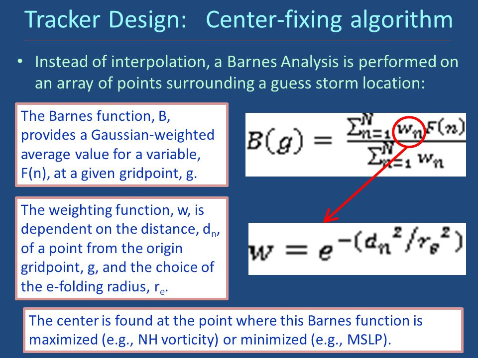 Tracker Design: Center-fixing algorithm