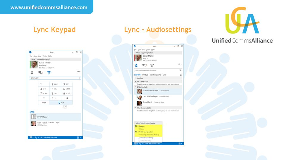 Lync Keypad Lync - Audiosettings