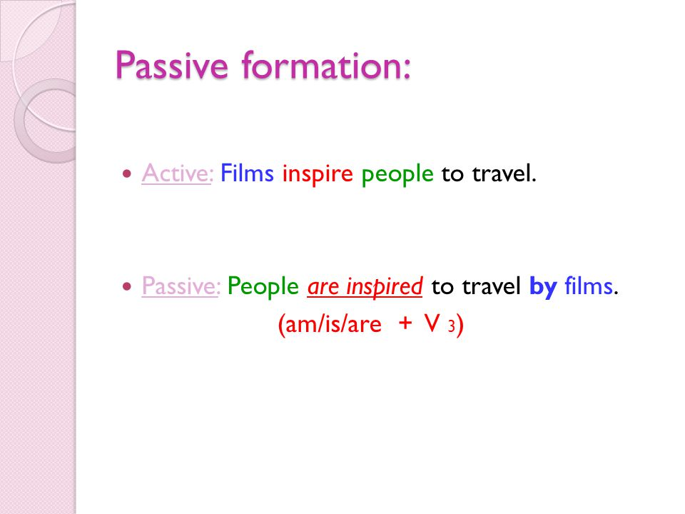 Passive formation: Active: Films inspire people to travel.
