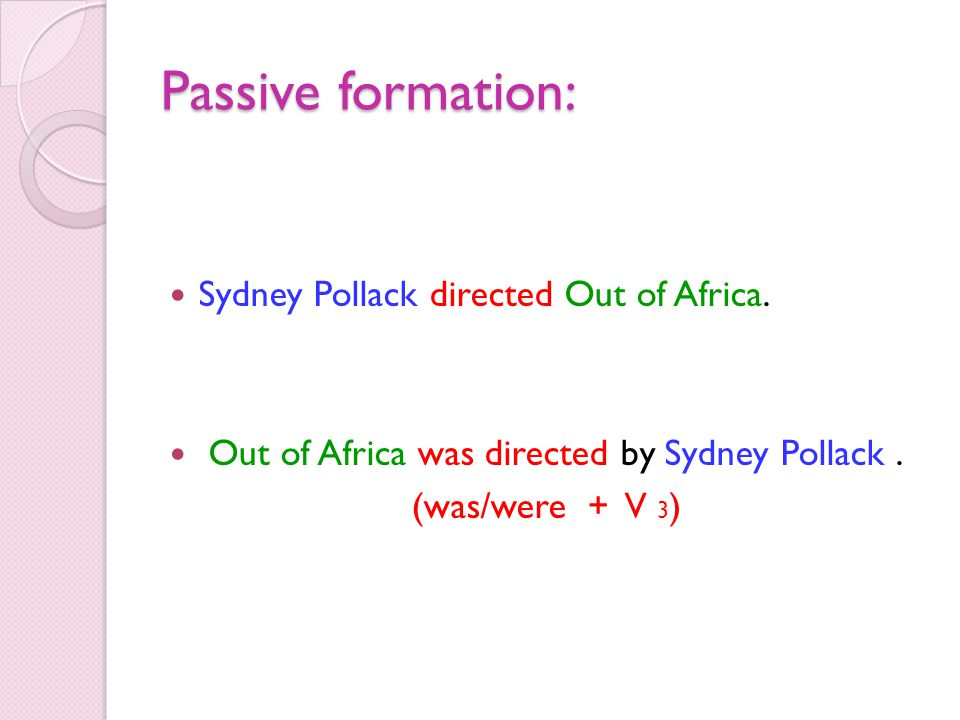 Passive formation: Sydney Pollack directed Out of Africa.