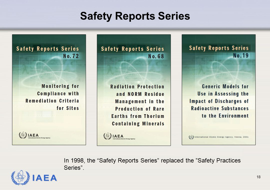 Safety Reports Series In 1998, the Safety Reports Series replaced the Safety Practices Series .