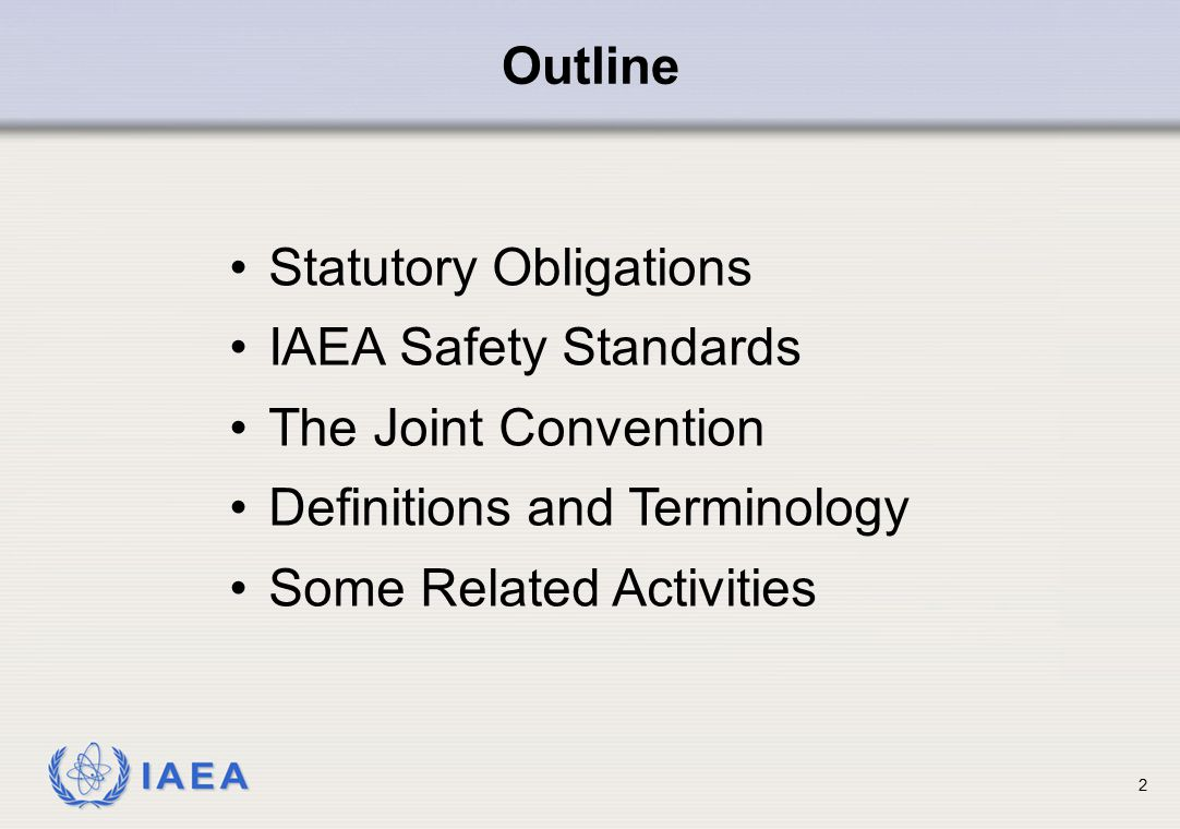 Outline Statutory Obligations. IAEA Safety Standards. The Joint Convention. Definitions and Terminology.