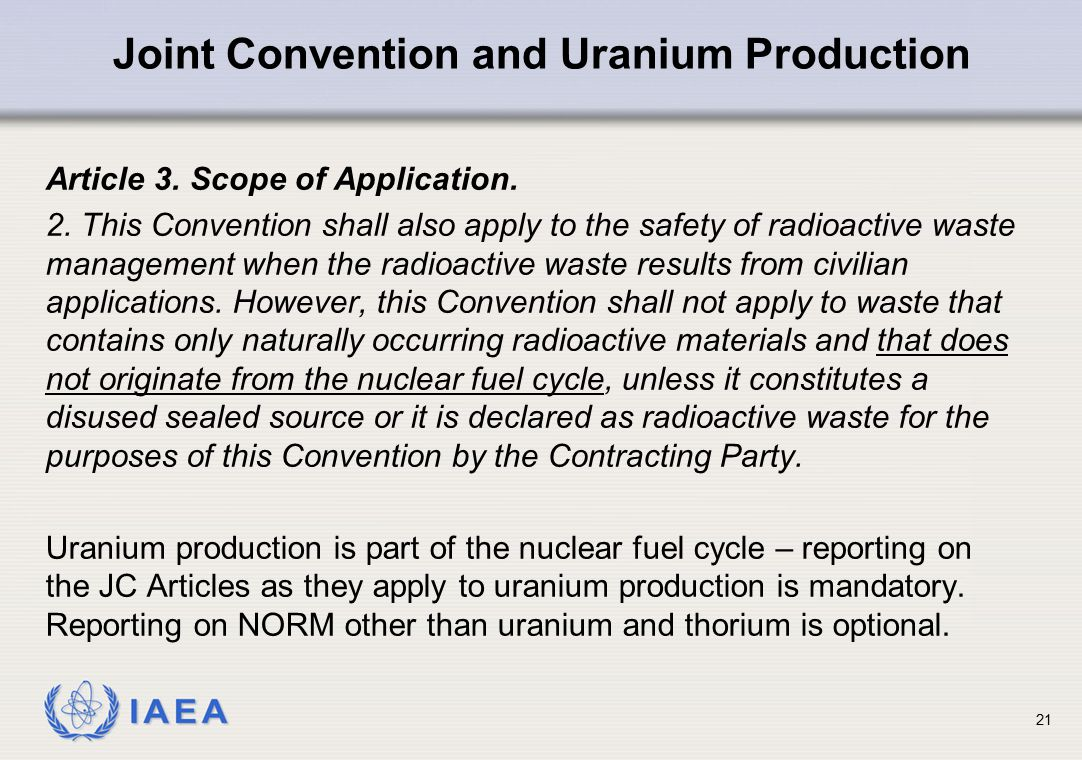 Joint Convention and Uranium Production