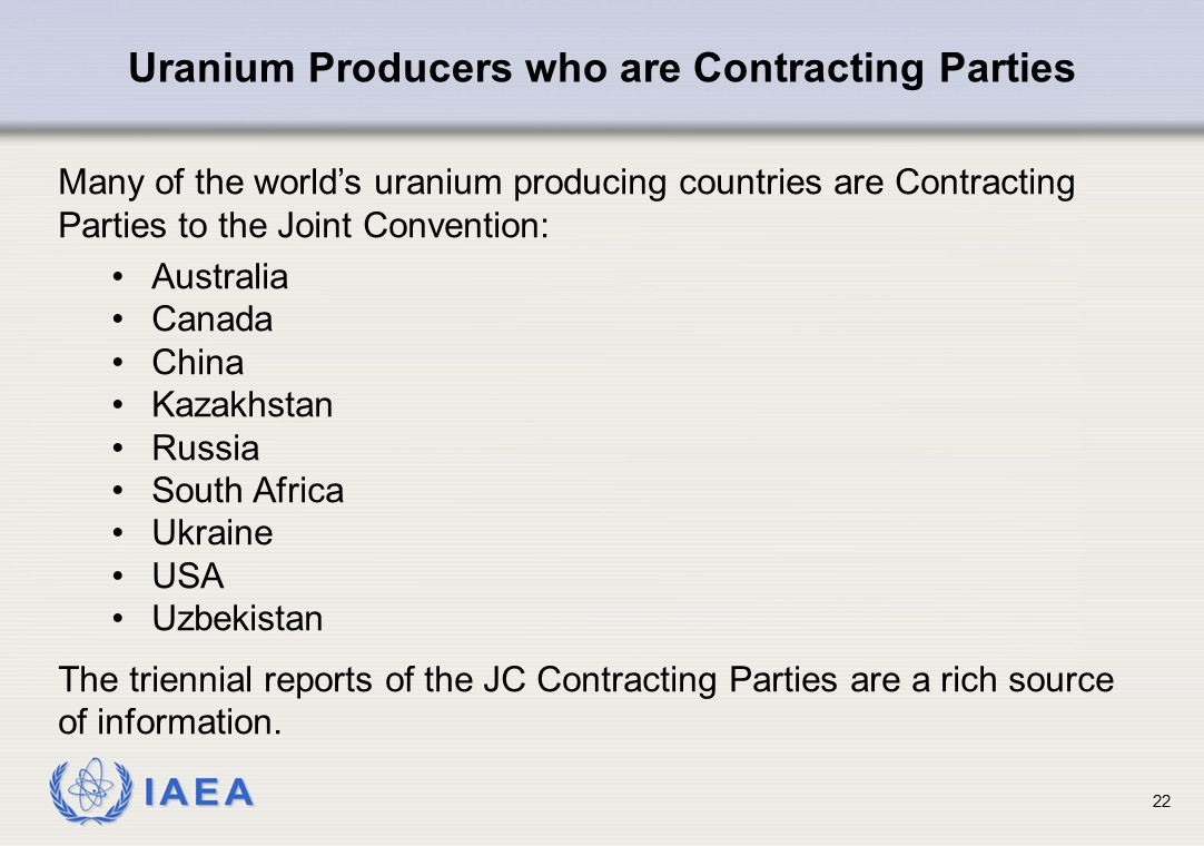 Uranium Producers who are Contracting Parties