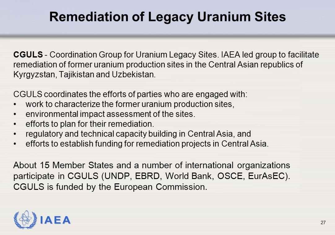 Remediation of Legacy Uranium Sites