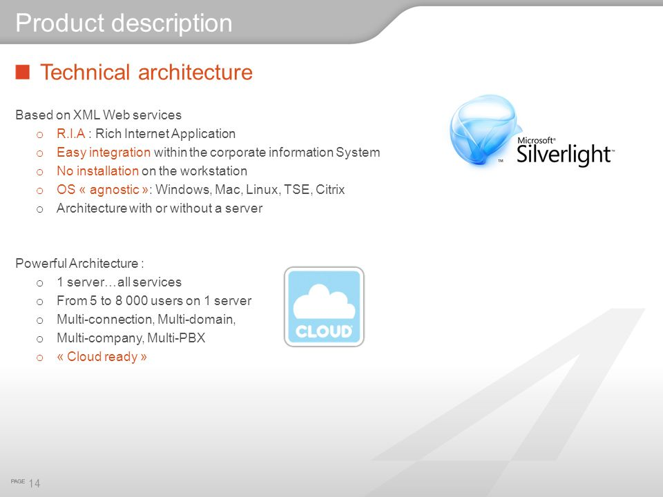Product description Technical architecture Based on XML Web services