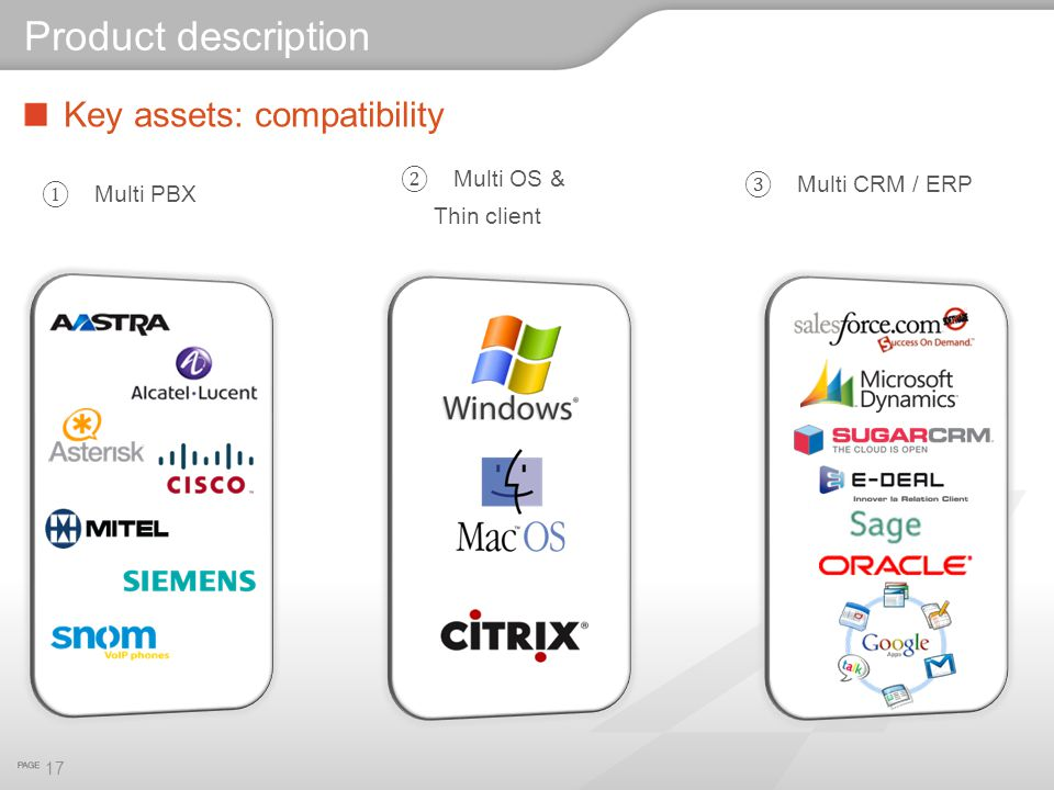 Product description Key assets: compatibility Multi OS & Thin client
