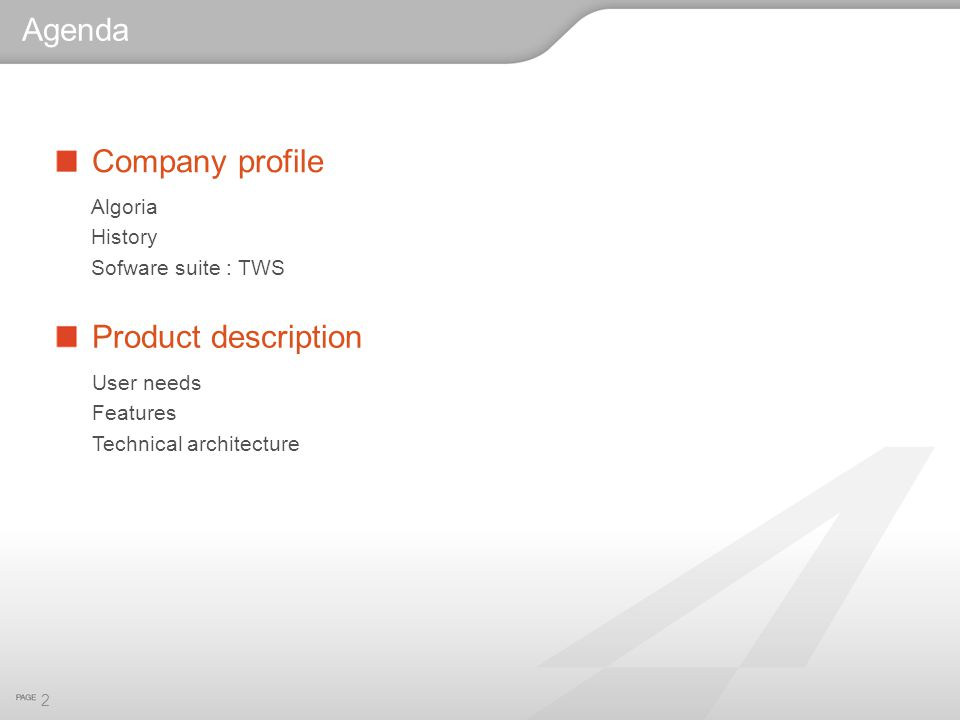 Agenda Company profile Product description