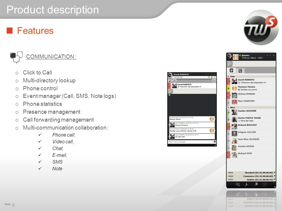 Product description Features COMMUNICATION : Click to Call
