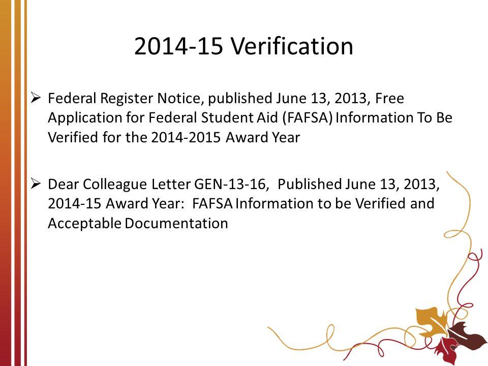 2014-15 Verification