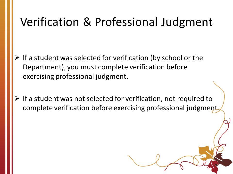 Verification & Professional Judgment