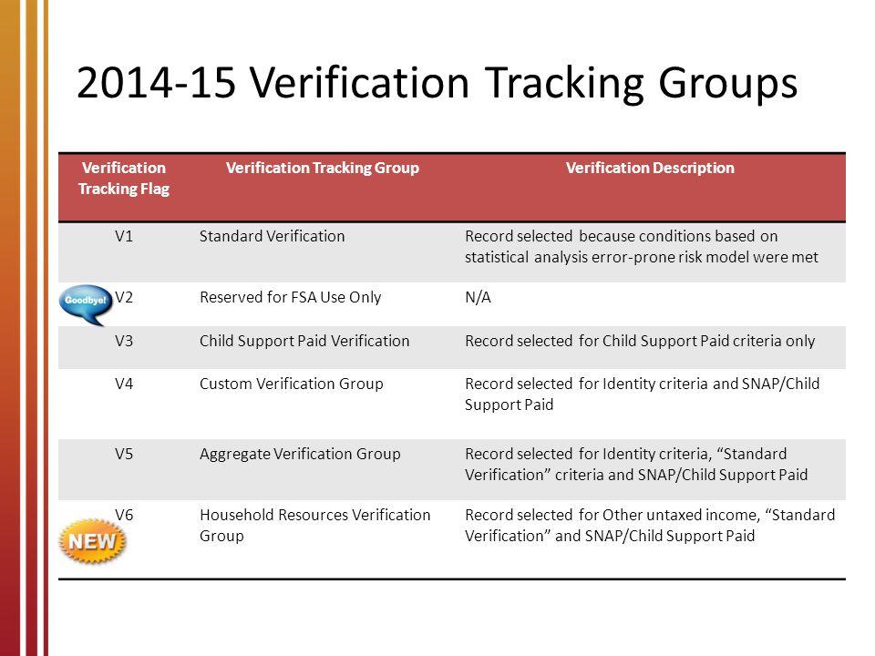 2014-15 Verification Tracking Groups