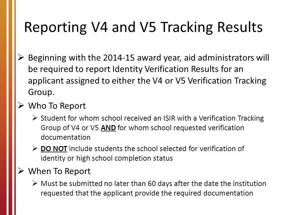 Reporting V4 and V5 Tracking Results