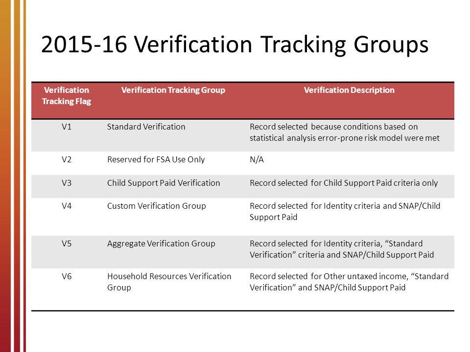 2015-16 Verification Tracking Groups
