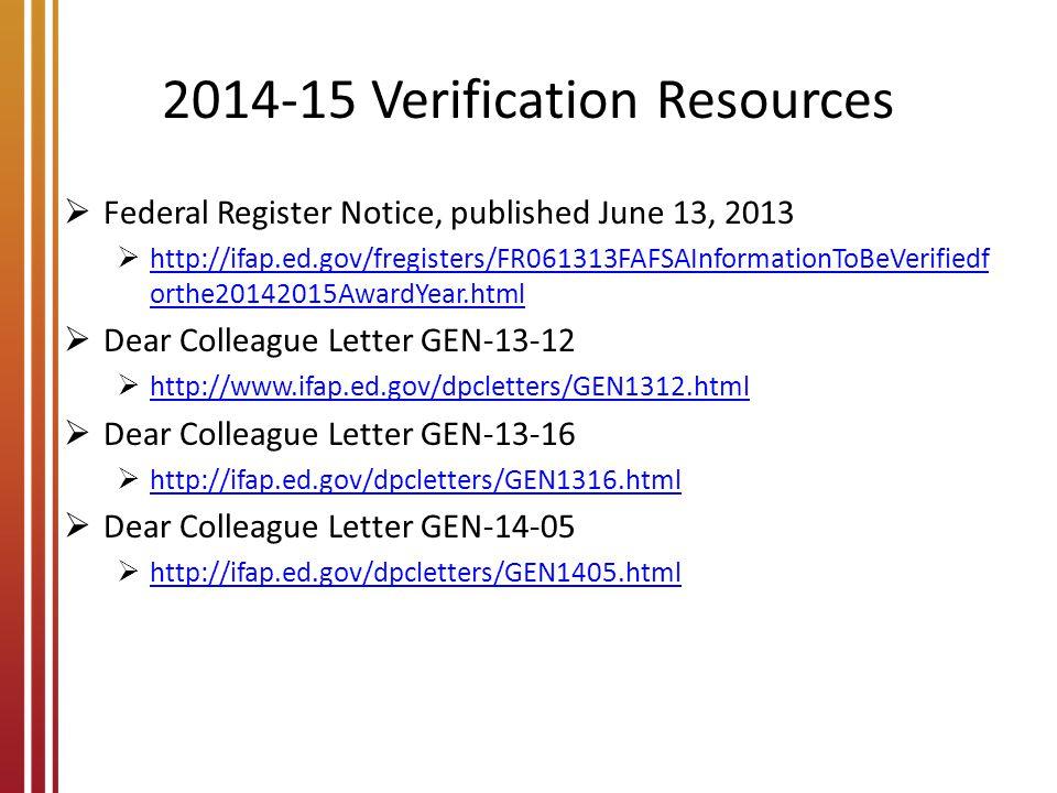 2014-15 Verification Resources