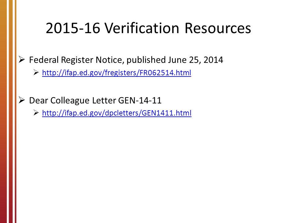2015-16 Verification Resources