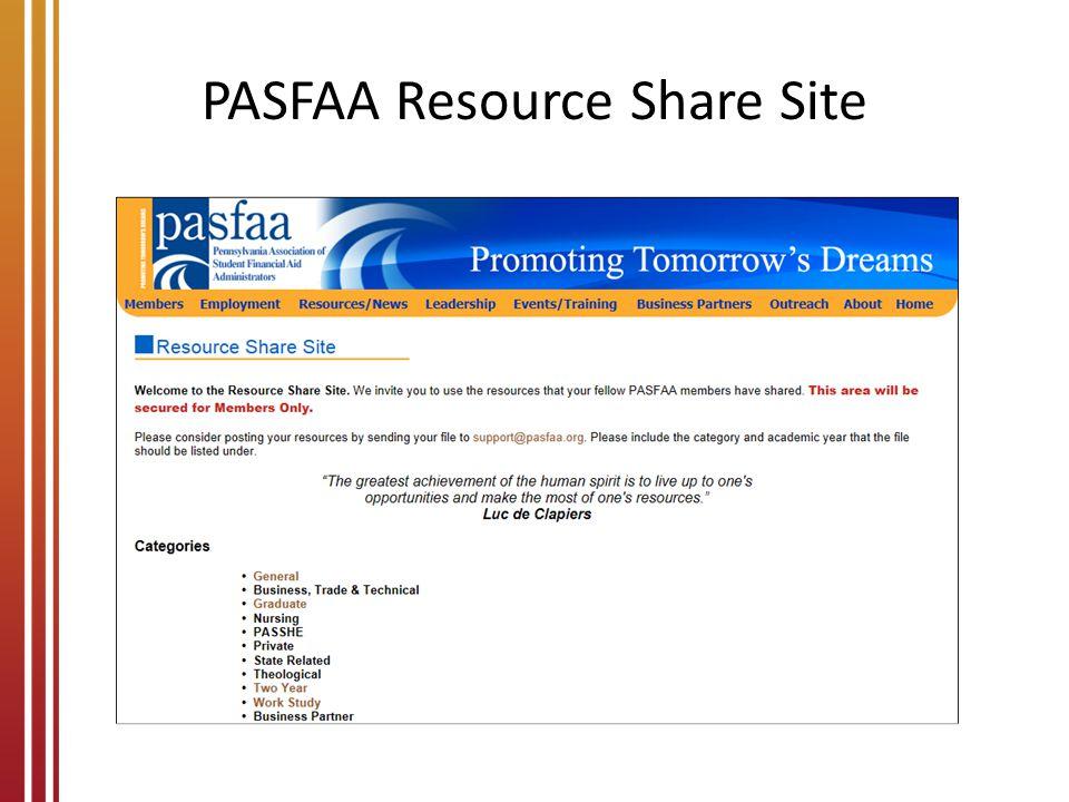 PASFAA Resource Share Site