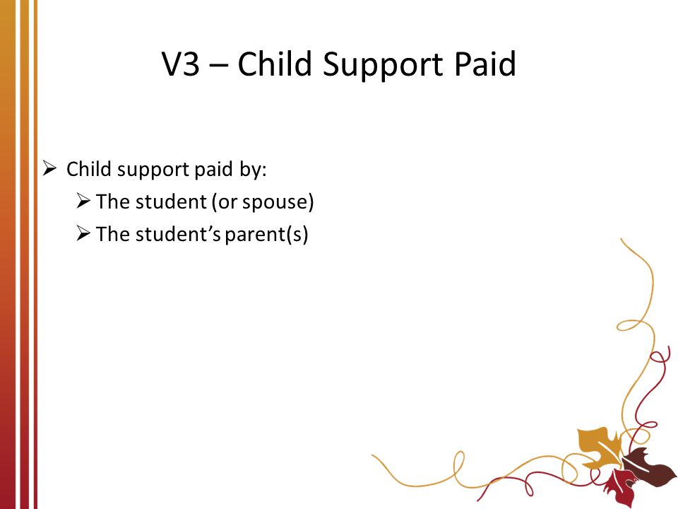 V3 – Child Support Paid Child support paid by: The student (or spouse)