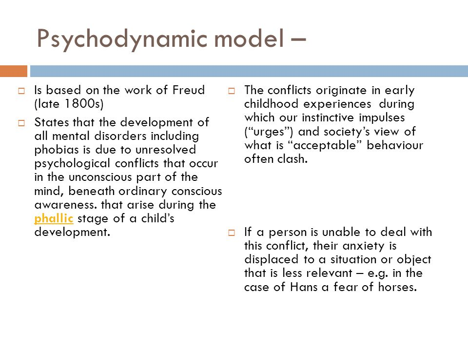 Psychodynamic model – Is based on the work of Freud (late 1800s)