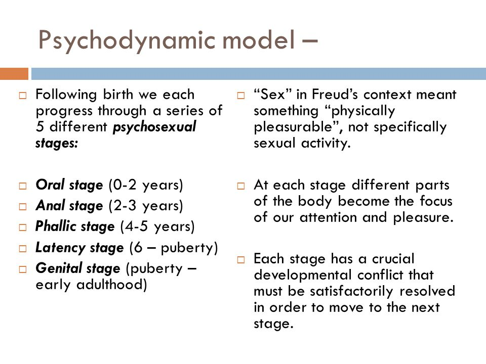 Psychodynamic model – Following birth we each progress through a series of 5 different psychosexual stages: