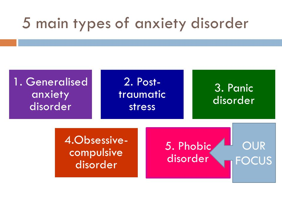 5 main types of anxiety disorder