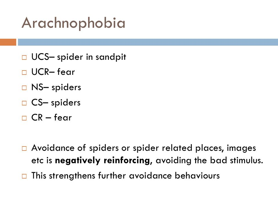 Arachnophobia UCS– spider in sandpit UCR– fear NS– spiders CS– spiders